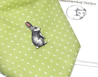 Rabbit Shrinky Dink Tie Tack, Rabbit Pins, Cute Illustrated Rabbit Tie Pin, Quirky Gift for Him, Woodland Wedding Tie Pin, Boyfriend Gift.