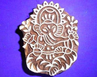 Ganesh Hand Carved Pottery Textile Clay Fabric Wood Stamp Indian Print Block (S3)