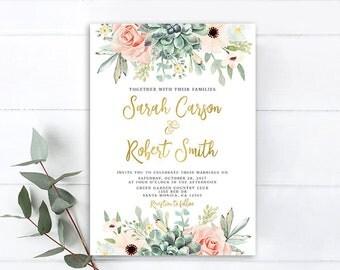 Floral Succulent Wedding Invitation, Rustic Succulent And Roses Wedding  Invitation, Boho Chic Wedding Invitation