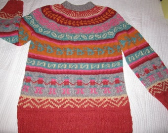 Vintage Hand Knit Multicolored Tribal Pattern Wool Sweater S M