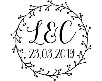 "Circle Wreath Stamp, wedding wreath stamp, personalised initials & date stamp, wedding statinery, wedding favours stamp, 1.8""x1.8"" (cts182)"