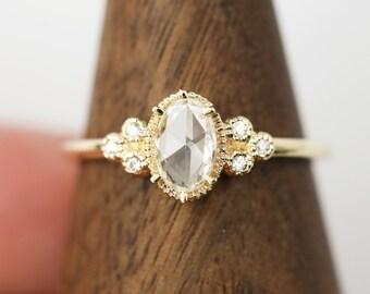 Rose cut diamond engagement ring, Oval rose cut diamond ring, handmade unique engagement ring, alternative engagemenr ring, ado-r103 RTS