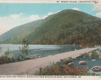 Unused Post Card of Mt. Desert Island, Lafayette National Park, c1920, Bubble Pond and Pemetic Mountain, residue of tape on front fair shape