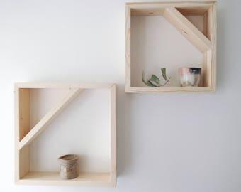 Floating Shelf - Hanging Shelf - Geometric Wood Shelf - Box Shelf - Square Wall Shelf