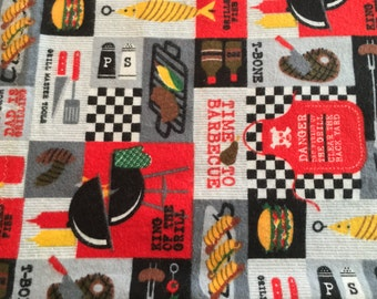 BBQ Flannel Pillowcase - Barbeque, Man Pillowcase, Man Gift, Man Cave, Gift for Husband, Gift for Father, Cooking, Steak, Grilling, Kitchen
