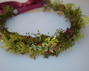 Leafy Greens Flower Crown - Greenery Floral Halo - Bridesmaid Crown - Assorted Greenery Halo - Photo Prop - Flower Girl Crown