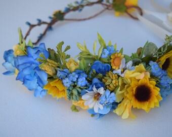 Sunflowers & Royal Blue Flower Crown - Flower Girl Crown - Sunflower Wedding Halo - Rustic Wedding Hair Piece - Sunflower Flower Girl Halo