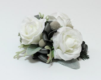 White Rose Pin On or Wrist Corsage, White and Grey Silver Greens, Winter Wedding, Prom or Mom Corsage, Artificial Floral Accessory Keepsake