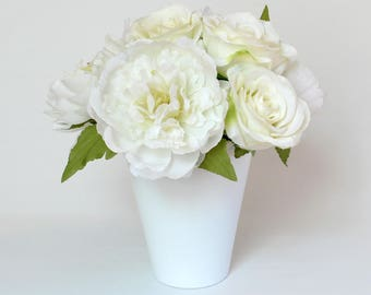 All White Flower Arrangement, Silk Floral Centerpiece, Artificial White Peony and Roses, White Flowers in a White Vase