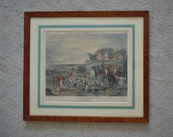 "19c Antique Fox Hunting Colored Print ""Whoo-Hoop!"" F. C. Turner Horses Dogs in Burl Wood Frame English Equestrian"