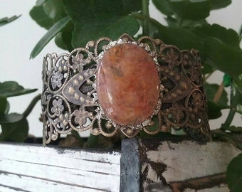 Orange Aventurine filigree bangle crystal cuff bracelet boho bracelet raw gemstone jewelry/ boho chic stackable bridesmaid gift Mother's Day