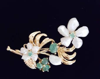 Antique Emerald and Fresh Water Pearl Brooch Pin in 14k Yellow Gold -EB639