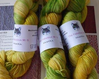 Hewara, Hand Dyed yarn, Sock Yarn, Hand Dyed Sock Yarn, Blue Faced Leicester, 4 ply, 100gm, Yellow, Cream, Green