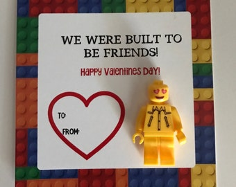 """Lego Valentine, We were built to be friends, Instant Download 4"""" square"""