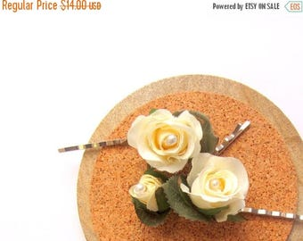 50% SALE Ivory Rose Hair Clips