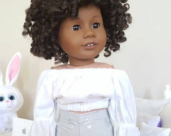 18 inch doll white peasant blouse
