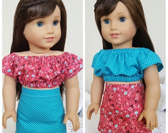 18 inch doll red and blue outfit | mix and match | red floral blue polka-dot | peasant blouse & skirt