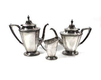 Vintage Wallace Silver Coffee & Tea Set with Coffee Pot, Teapot and Creamer, Silver Soldered Art Deco Style Hotel Restaurant Serveware
