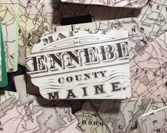 Antique Vintage Maine Map Gift Tags pack of 5