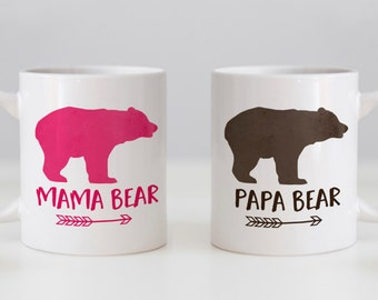 Coffee Mug Set for new parents - Mama Bear and Papa Bear