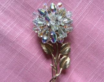 Colorful Rhinestone Brooch/Flower Pin
