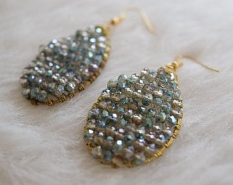 Lisa Statement Earrings in Blue Aqua