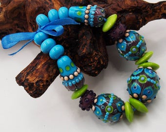 Lampwork Bead Set, Blue, Purple, Green Beads for Jewelry