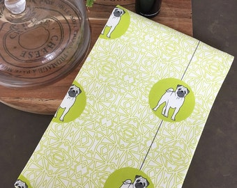 Pug Dog Breed Tea Towel -  Pug dog dish cloth, kitchen gift - in Lime Green and White