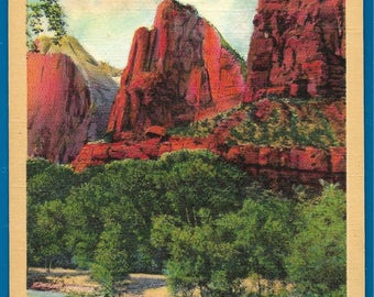 Vintage Linen Postcard - The Three Patriarchs at Zion National Park in Utah  (2439)