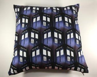 Toss Pillow Doctor Who TARDIS Decorative Cushion Dr Who T.A.R.D.I.S. Time Lord Bed Pillow Geek Geeky Home Decor Police Box Bedroom Whovian