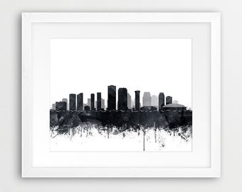 New Orleans City Skyline, New Orleans Watercolor Grey Black White, Louisiana Cityscape, Modern Wall Art, Home Decor, Travel Printable Art