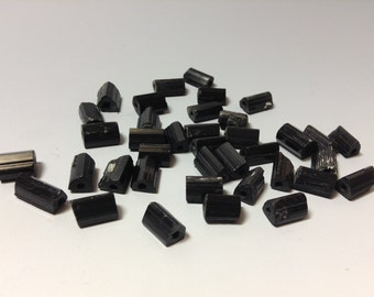 Rough natural black Tourmaline bead 10-11mm long