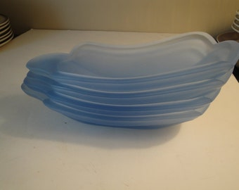Set Of 4 - Vintage Blue Frosted Banana Split Dishes, Fountainware Dishes, Ice Cream Dishes
