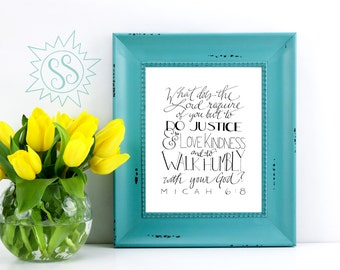 Bible Verse Wall Art / Christian Gifts for Women / Nursery Wall Art / Do Justice, Love Mercy, Walk Humbly /Micah 6:8 /THW078