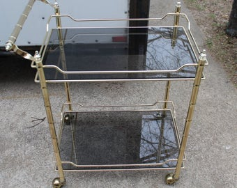 Brass & Glass bar cart with smoked glass-Hollywood