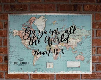 Great Commission Hand-lettered Calligraphy Vintage World Map