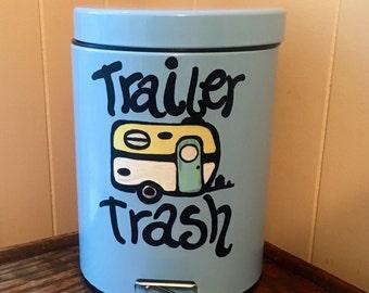 Trailer Trash- Painted Trash Can- Trailer Trash Painted Trash Can- Camper Decor- Camper Trash Can- RV Decor- Small Trash Can- RV Trash Can