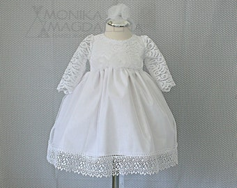 Luxury girls dress for baptism - three-piece set for baptism, Christening, Blessing dress with white lace, long sleeves with headband , sash