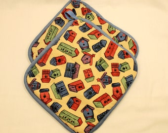 """Birdhouse Pot Holders/Hot Pads -  """"Birdhouses"""" - Very Thick - Great Kitchen Item - Gift for any Occasion!  Gift under 15"""