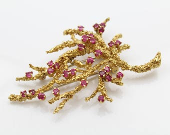 Spectacular Tiffany and Co Vintage Sea Coral Pin in Rubies and 18K Yellow Gold. [12344]