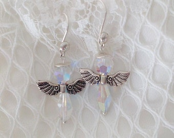 Swarovski angels, sterling silver angels earrings, sterling silver angels, sterling silver earrings, silver plated wings, for her
