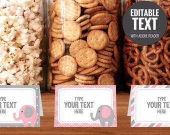 Elephant Place Cards - Editable Buffet Cards - Food Tent Cards - Printable Pink and Gray Baby Shower Table Signs - Baby Girl Decorations