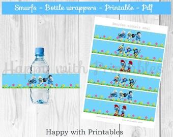 Smurfs Bottle wrapper - Smurfs Bottle label - Smurfs theme bottle label - Smurfs Party - Smurfs favor label - Smurfs printable - Smurfette