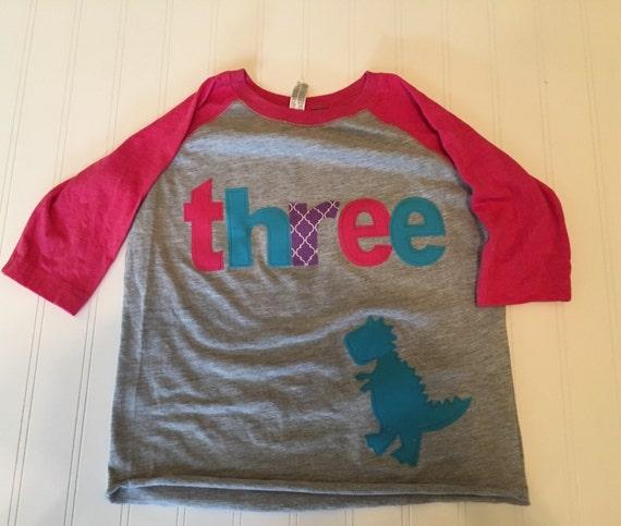 Girls dinosaur birthday raglan, three dinosaur shirt, 3 girls t tex raglan shirt