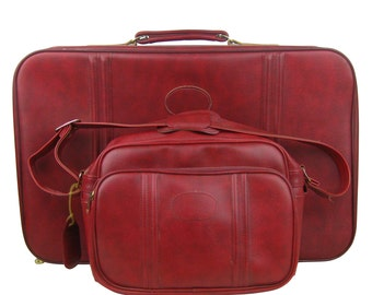 Vintage 1970s Two Piece Oxblood Red Suitcase Luggage Set, Soft Sided Suitcases Pair, Weekender Overnight Travel Bags,Makeup Carry On Bag
