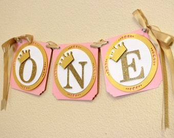 Shimmer Pink & Gold Princess Theme One High Chair Banner, 1st birthday, Princess Theme, Pink and Glitter Gold, Handcrafted Party Decor