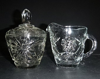 Vintage Early American Prescut creamer and  sugar bowl Anchor Hocking pressed glass pattern perfect for your holiday table
