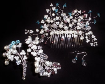 Bridal jewellery set. Haircomb, earrings and bracelet. R1400 White glass pearls, blue & purple Swarovski crystals.
