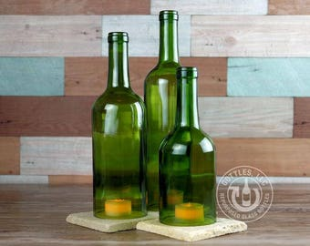 Upcycled Bordeaux Wine Bottle Hurricane Candle Set
