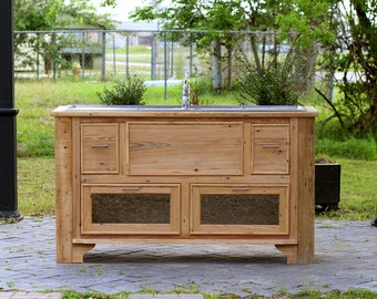 Reclaimed Wood Island Stainless Steel Farm Sink Double Drainboard Sink  Cypress Apothecary Chest Package